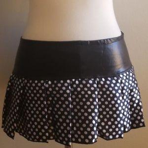 Hustler Black Polka Dot Pleated Mini Skirt NEW